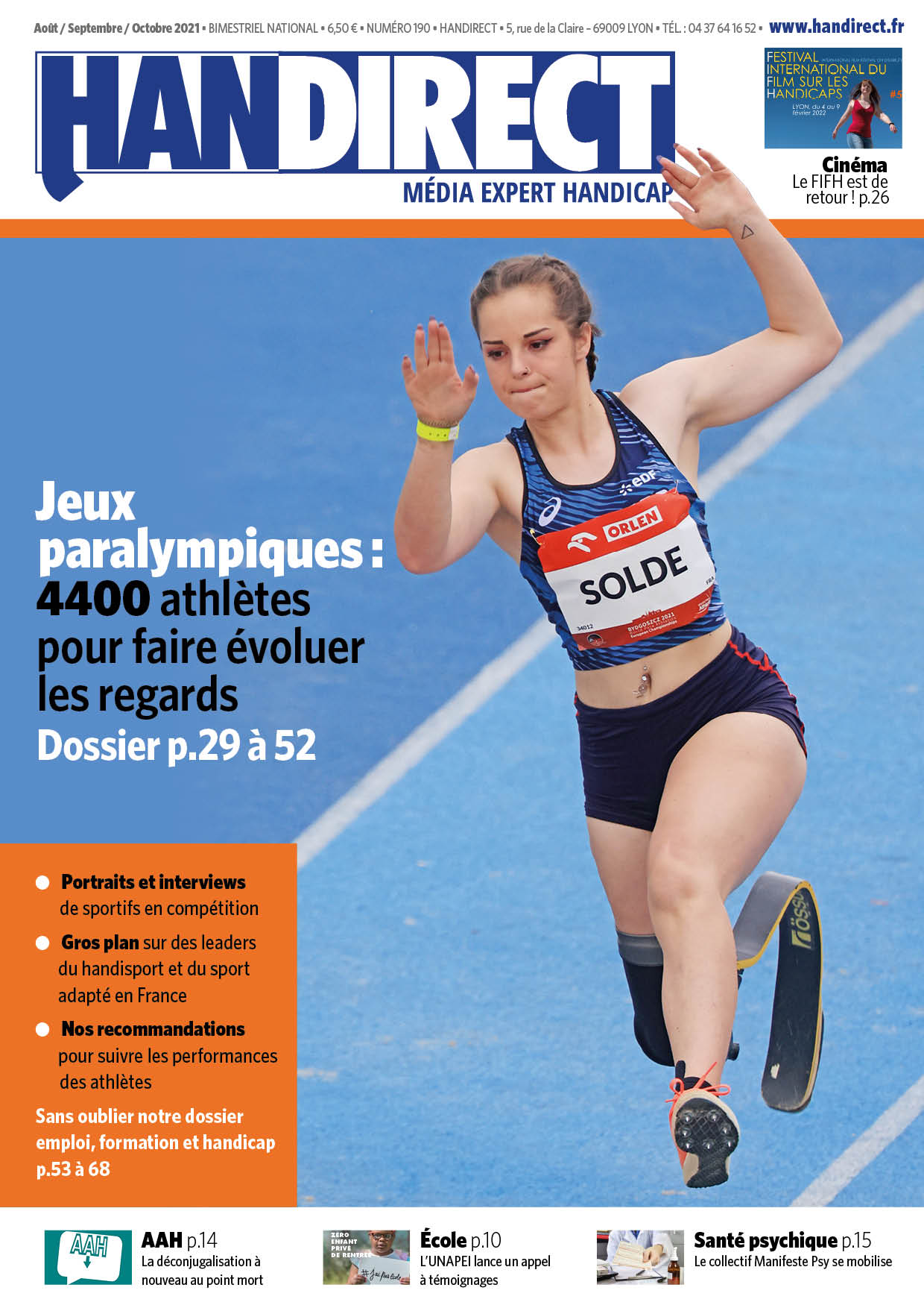 Handirect 190 - Août-septembre-octobre 2021 : Dossier Paralympiques
